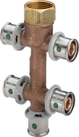 Viega Verteiler mit SC-Contur Sanfix P 2126.09 in 16mm x G3/4 - 5fach Rotguss