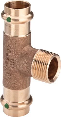 Viega T-Stück mit SC-Contur Sanpress 2217.1 in 18mm x R3/4 x 18mm Rotguss