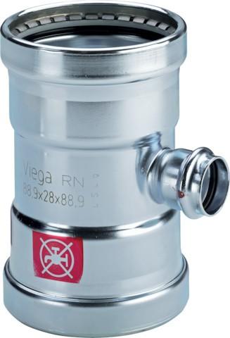 Viega T-Stück mit SC-Contur Prestabo 1118XL in 108,0x28x108,0mm Stahl verzinkt