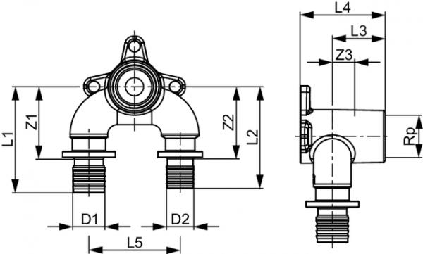 TECEflex U-Doppelwandscheibe, Rotguss