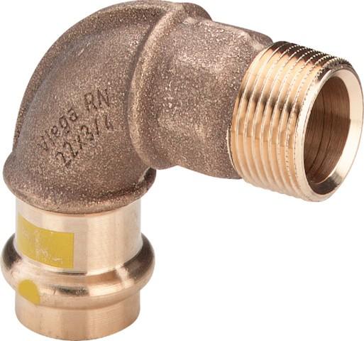Viega Bogen 90 Grad mit SC-Contur Profipress G 2614 für Gas in 28mm x R1 Rotguss