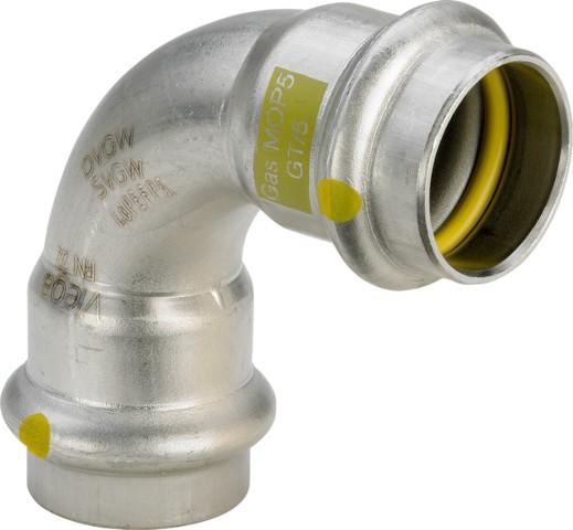 Viega Bogen 90 Grad SC-Contur Sanpress Inox G 0216 für Gas in 15 mm Edelstahl