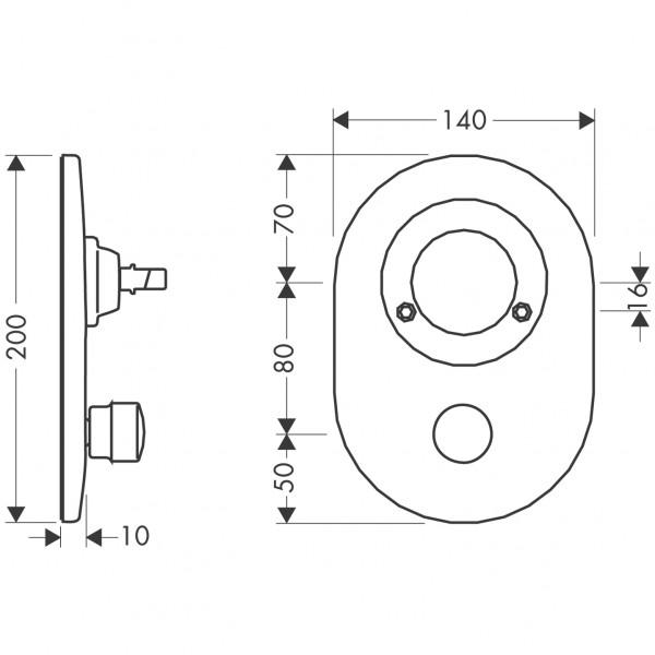 97111810 Hansgrohe Umrüstset Kugel auf M3 Wannenmischer Unterputz mit Rücksaugsicherung satinox