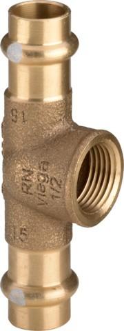Viega T-Stück mit SC-Contur Profipress S 4517.2 in 28mm x Rp1/2 x 28mm Rotguss