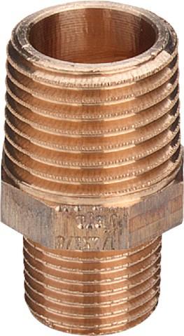 Viega Reduziernippel 3245 mit Mehrkant in R1 x R1/2 Rotguss
