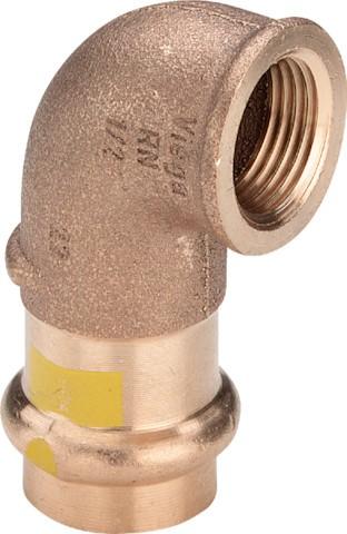 Viega Winkel 90 Grad mit SC-Contur Profipress G 2614.2 für Gas in 15mm x Rp1/2 Rotguss