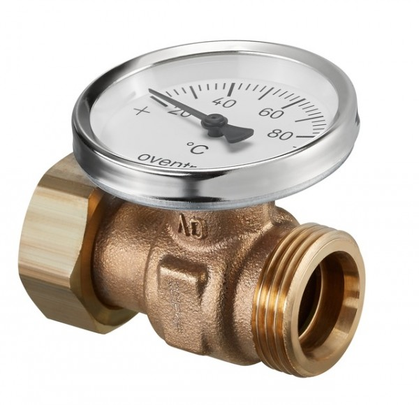 """OVENTROP-Thermometerzwischenstück DN20, 1"""", PN10,mit Thermometer (20-80 C)"""