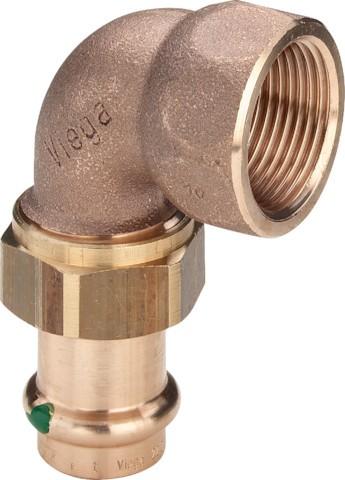 Viega Winkelverschraubung mit SC-Contur Sanpress 2255 in 22mm x Rp1 Rotguss