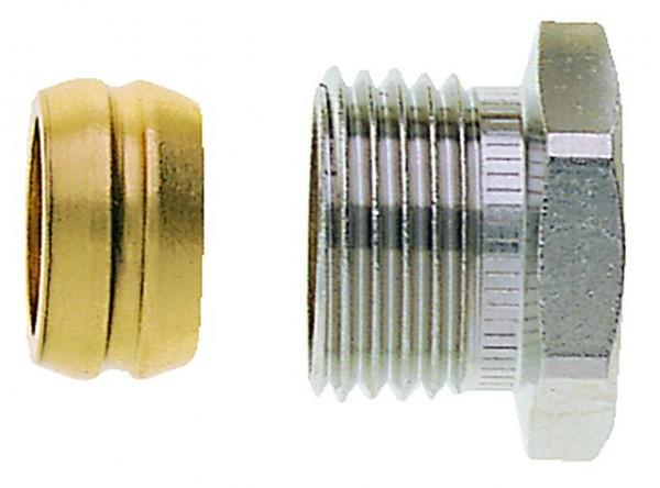 HEIMEIER Klemmverschraubung vernickelt für Cu- und Stahlrohr 16 mm und Rp 1/2 IG