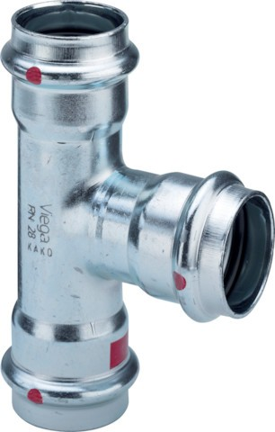 Viega T-Stück mit SC-Contur Prestabo 1118 in 22x15x15mm Stahl verzinkt