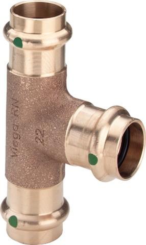 Viega T-Stück mit SC-Contur Sanpress 2218 in 42x22x42mm Siliziumbronze